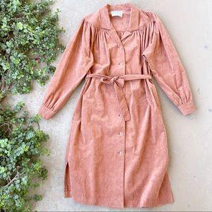 Vintage Gino Rossi Suede Tie Waist Midi Dress